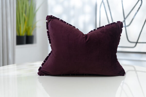 purple & cream plush Velvet textured covers Back