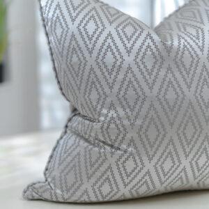Platinum Geometric Patterned Jacquard | Grey & Dove Grey