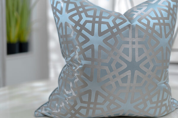 duck egg blue and taupe Jacquard