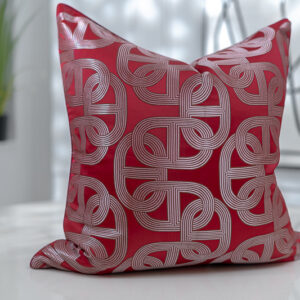 Bold Link Chain Motif in Red Jacquard covers