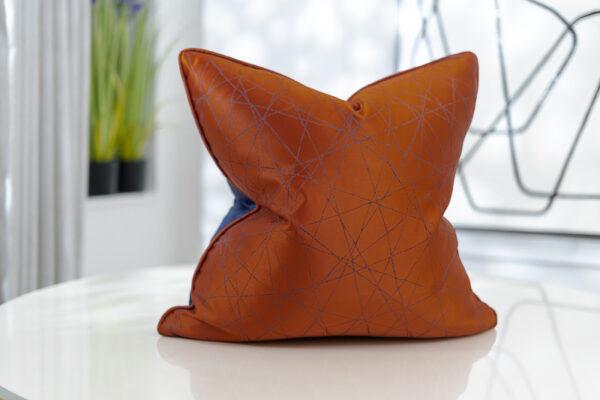 orange & royal blue geometric patterned soft Jacquard cushion covers